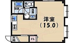 苦楽園マンション 2階ワンルームの間取り