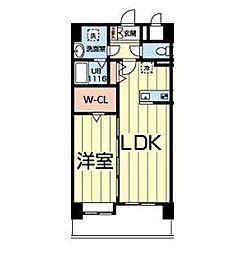 熊本電気鉄道 北熊本駅 徒歩5分の賃貸マンション 9階1LDKの間取り
