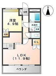 富山県富山市豊田本町2丁目の賃貸アパートの間取り