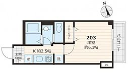 JR山手線 目白駅 徒歩7分の賃貸マンション 2階1Kの間取り