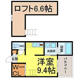 愛知県名古屋市中村区新富町2丁目の賃貸アパートの間取り