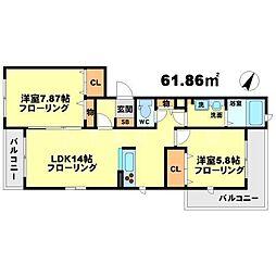 シャーメゾン桃竹 1階2LDKの間取り