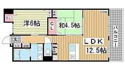 カサベラ新在家ツインズII号館[8階]の間取り