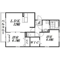 静岡県浜松市中区東伊場1丁目の賃貸アパートの間取り