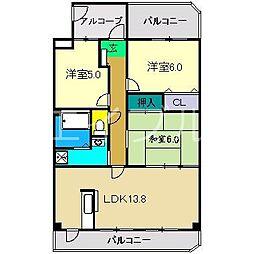 高知県高知市北久保の賃貸マンションの間取り