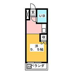 西須ヶ口ハイツ[2階]の間取り