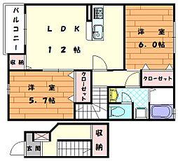 福岡県福津市花見の里3丁目の賃貸アパートの間取り