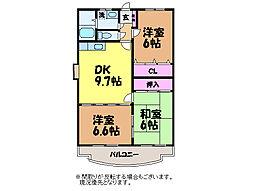 愛媛県松山市居相6の賃貸マンションの間取り