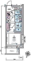 JR山手線 恵比寿駅 徒歩9分の賃貸マンション 2階1Kの間取り