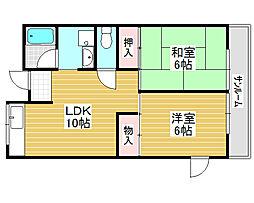 サンハイツ北花田第1[4階]の間取り