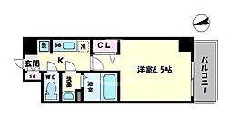 ララプレイス天王寺シエロ 2階1Kの間取り