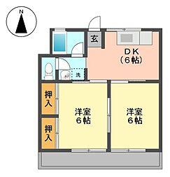 愛知県長久手市作田1丁目の賃貸アパートの間取り