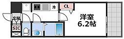 プレサンス森ノ宮THEゲート 6階1Kの間取り