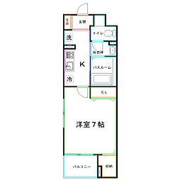 JR中央本線 国分寺駅 徒歩6分の賃貸マンション 1階1Kの間取り