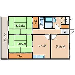 奈良県奈良市東九条町の賃貸マンションの間取り
