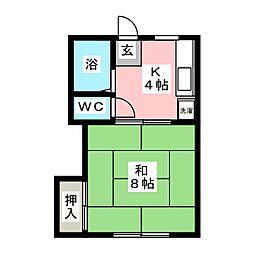 コーポ花坂[2階]の間取り