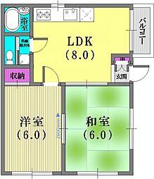 兵庫県神戸市中央区筒井町3丁目の賃貸アパートの間取り