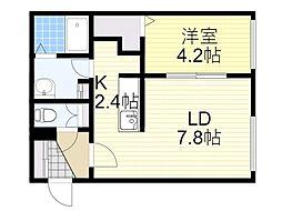 札幌市営南北線 北18条駅 徒歩11分の賃貸マンション 4階1LDKの間取り