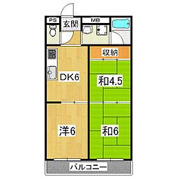 関生ハイツ[4階]の間取り