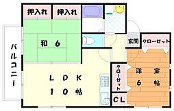 コーポ津屋崎[2階]の間取り
