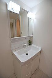 ハンドシャワー、コンセント、三面鏡付洗面化粧台