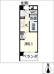 EASTCOURT SAKURABASHI 1階1Kの間取り