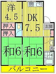コーポKIKU A棟[1階]の間取り