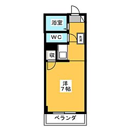 サンクレストK 2階ワンルームの間取り