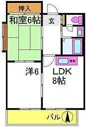 パールハイツ東三国 4階2DKの間取り