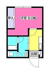 山栄荘A[3階]の間取り