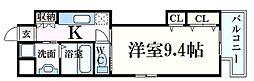 広島電鉄9系統 家庭裁判所前駅 徒歩2分の賃貸マンション 9階1Kの間取り
