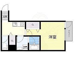 JR東西線 海老江駅 徒歩5分の賃貸マンション 2階1Kの間取り