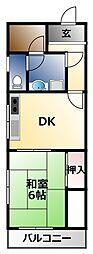 グリーンファミール石田 3階1LDKの間取り