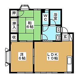 パーシモン弐番館[1階]の間取り