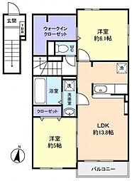 緑が丘西8丁目アパート[2階]の間取り