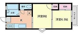 コスモAoi中田II[201号室]の間取り