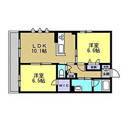 仮)川崎区塩浜2丁目シャーメゾン 2階2LDKの間取り