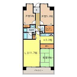 南海高野線 千代田駅 バス6分 ローレルコート千代田[10階]の間取り