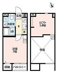 大阪府堺市堺区北清水町1丁の賃貸アパートの間取り
