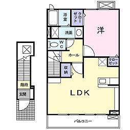 埼玉県さいたま市岩槻区宮町2丁目の賃貸アパートの間取り