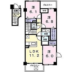 長野県松本市南松本2丁目の賃貸マンションの間取り