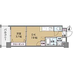 クリスタル&リゾートスカイプレミア 7階1DKの間取り