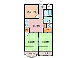 シャトー浜田[2階]の間取り