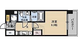 エスリード桜ノ宮レジデンス 4階1Kの間取り