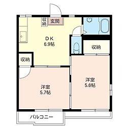 タウニー 長島[2階]の間取り