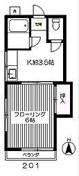 JR武蔵野線 北府中駅 徒歩12分の賃貸アパート 2階1Kの間取り