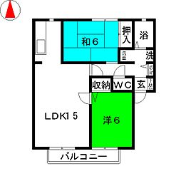 サンガーデン福田 B棟[2階]の間取り