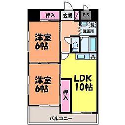 愛媛県松山市河原町の賃貸マンションの間取り