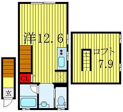 BIG LOFT STYLE 2階ワンルームの間取り