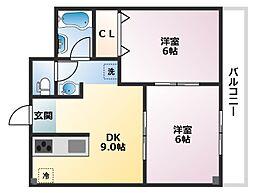 本山コアマンション[202号室]の間取り